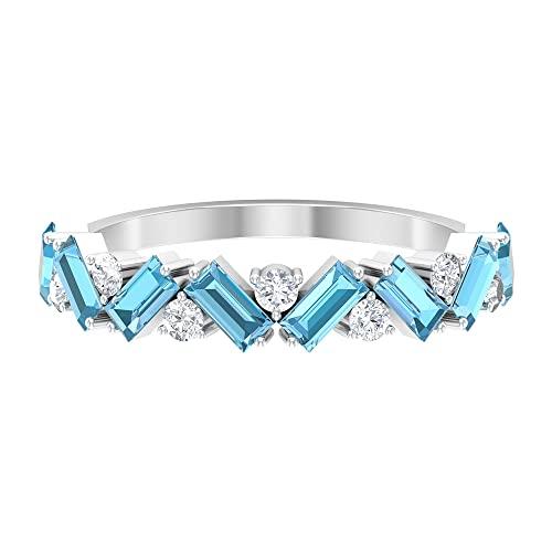Anillo de diamantes HI-SI de 1/4 quilates, anillo de aguamarina con forma de baguette de 1 quilate, anillo de boda, anillo de piedra natal de marzo, oro blanco, diamante, tamaño: UK O1/2