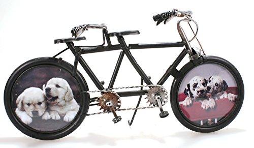 Fahrrad Tandem aus Metall 32 cm schwarz mit 2 Bilderrahmen Oldtimer Nostalgie Blech Modell Rad Velo