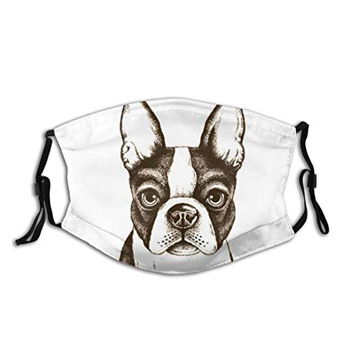 Boston Terrier French Bulldog Unisex Face Mask Reusable Washable Balaclava Bandana,Adjustable Ear Loops Face Cover,For Outdoor Sports Working Fishing Cycling Hiking Running