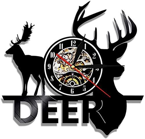 mbbvv Deer Hunter Reloj de Pared de Vinilo Decoración única para el hogar Hecho a Mano Vida Cumpleaños Aniversario Regalo Hombres Mujeres