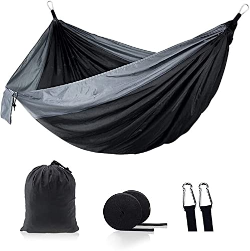 XIAOTIAN Hammock Double Camping Lightweight Portable Hammock for Outdoor Hiking Travel Backpacking - Nylon Hammock Swing - Support 1000lbs Ropes Carabineers (Gray-black)