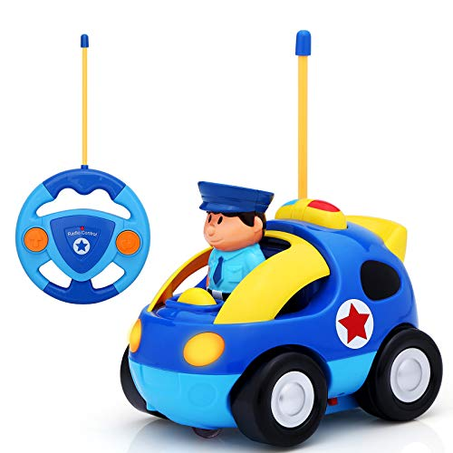 KINGSDRAGON Remote Control Car, Cartoon RC Police Car Race Car with Lights and Music,Radio Control Toys for Kids Young Children and Toddlers,Perfect Birthday Xmas (Blue)