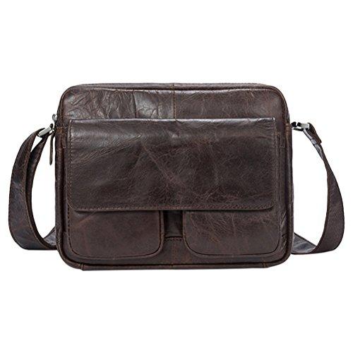 Zhhlinyuan Soft Durable Multiple Pocket First Cowhide Leather Zipper Moible Phone Messenger Shoulder Bag Daypack Cross Body Bag Belt Bag Pouch Purse p
