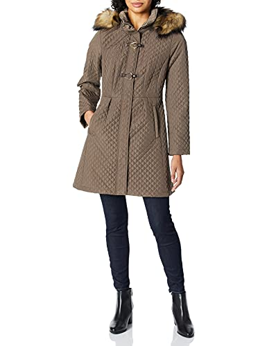 Ivanka Trump Damen Quilt Coat with Toggle Closure Gesteppte Jacke, Truffle, Medium