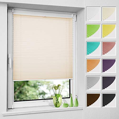 Plissee Klemmfix ohne Bohren, Creme 50 x 130 cm (BxH), Faltrollo Plisseerollo mit Klemmträger, Jalousie Rollos für Fenster und Tür, Sichtschutz und Sonnenschutz