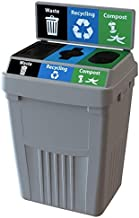 CleanRiver Flex E bin Indoor and Outdoor Sturdy 3-in-1 Waste, Recycling and Compost Bin with Backboard FX50B-GY3-W-BK-R-BE-C-GN, 50 Gallons, Grey