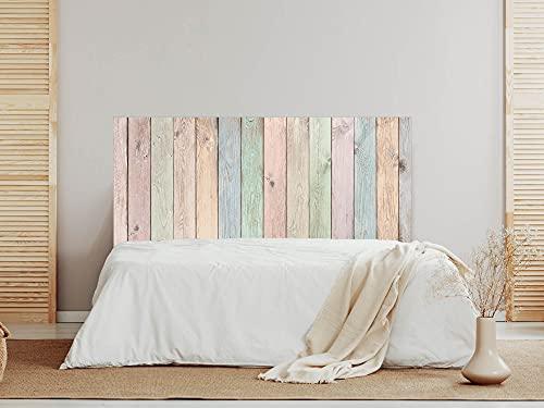 Oedim Cabecero Madera Vieja Colores, 200x60cm, cabecero Decorativo para Camas, decoración para Habitaciones