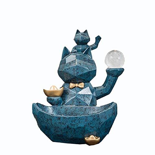 WQQLQX Statue Glückliche Katze Statue Tier Skulptur Dekoration Kreative Aufbewahrungsablage Home Wohnzimmer Büro Couchtisch Dekoration Zubehör Figuren Skulpturen
