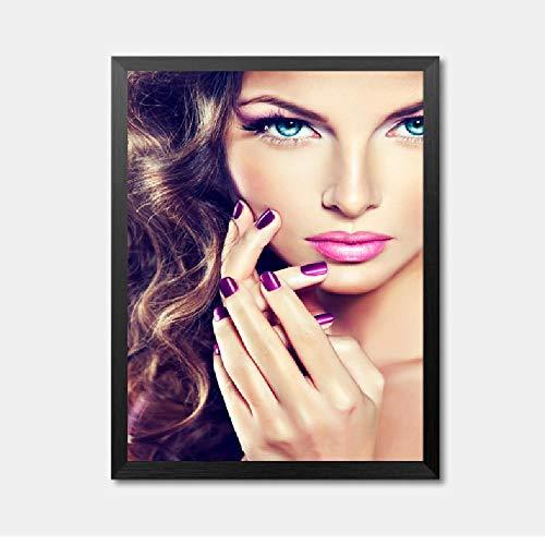 Mooie Meisjes Blond Haar Foto Canvas Schilderen Mode Glamoureuze Vrouw Make-up Muur Kunst Foto Schilderen 50x70cm
