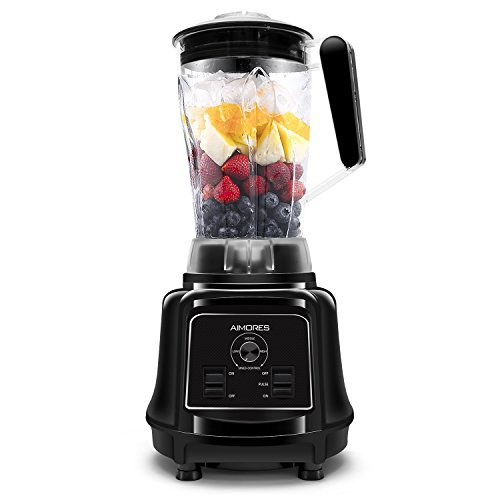 Aimores Commercial Blender for Shakes and Smoothies, Food Processor, Heavy Duty Juice Blender, 75oz Pitcher, 32,000RPM, Variable Speed Control, with Tamper & Recipe, ETL/FDA Certified (Black)