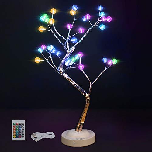 Lámpara de luz de árbol Bonsai Tree Lámparas de escritorio artificiales 16 colores que cambian 4 modos Luces de árbol con pilas Decoración de habitación Luz de noche para dormitorio, Navidad