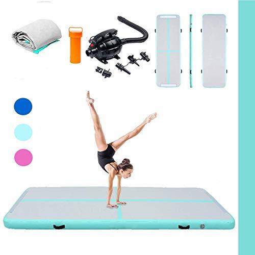 Triclicks 3m Aufblasbare Gymnastikmatte Air Tumbling Track Turnen Matte Yogamatte Turnmatte Fitnessmatte Bodenmatte Trainingsmatten Sportmatratzen + Elektrische Luftpumpe (Grün)