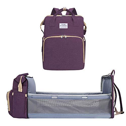 Grehod - Mochila plegable portátil para cuna de bebé, mochila multifuncional, gran capacidad para madre y bebé, mochila