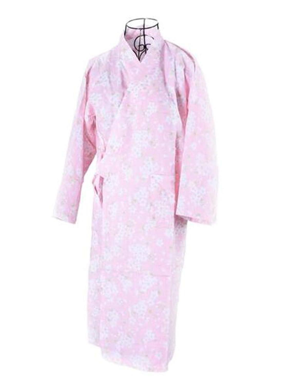 レディース 浴衣 無地 甚平 寝巻き 桜の花柄 可愛い浴衣 綿100% お寝巻 ねまき パジャマ 旅館 女性
