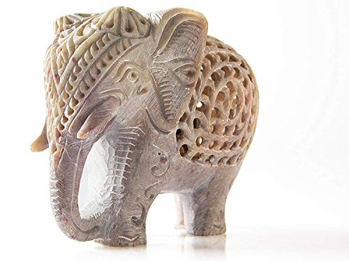 "StarZebra - White Lucky Elephant Soapstone Figurine with Elephant in Belly Statue 4"" Handmade in Jali or Openwork From a Single Block of Stone From India gift"