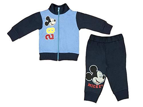 Disney Mickey Mouse Sportanzug, 2Teiler Set, Junge Gr. 68 74 80 86 92 98 104 110 116 Baumwolle Outfit Jogginganzug Hose mit Jacke Kapuzen-Pullover Farbe Modell 2, Größe 68