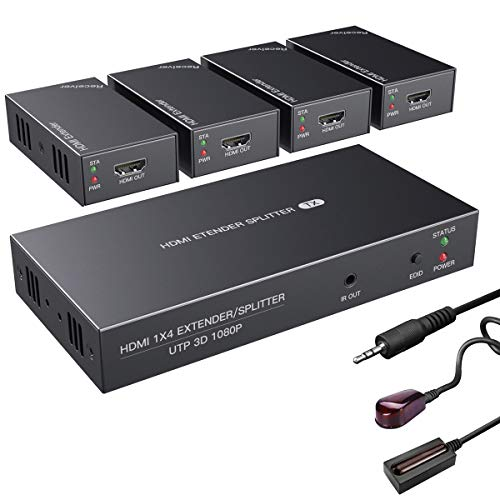 HDMI Extender Splitter with IR 1x4 1080P Over Ethernet Cable Cat 5E/6/7 Up to 50m (165ft) Support EDID Copy POC Function (1 in 4 Out)