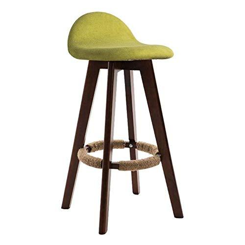 JIEER-C vrijetijdsstoelen barkruk massief houten hoge stoel Rotate Dining Chair afneembare linnen bekleding keuken Cafe Pub zithoogte 70cm Duurzaam sterk Walnut color groen