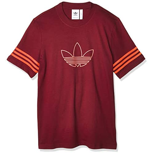 Adidas Outline, T-Shirt Uomo, Burgundy, XS