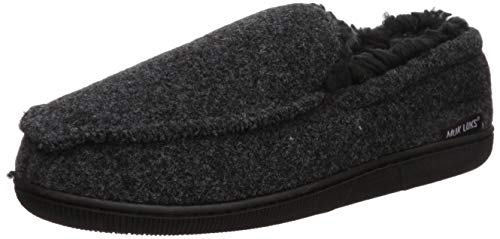 MUK LUKS Men's Faux Wool Moccasin Slippers, Black, Medium M US