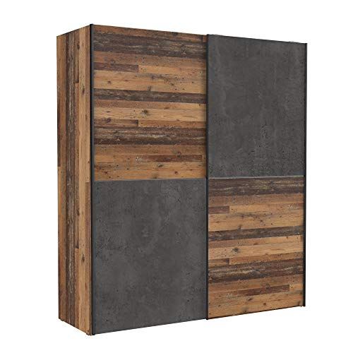 Wohnorama Schweber 170 cm DEDERIK von Forte Old Wood Vintage/Beton Dunkelgrau by
