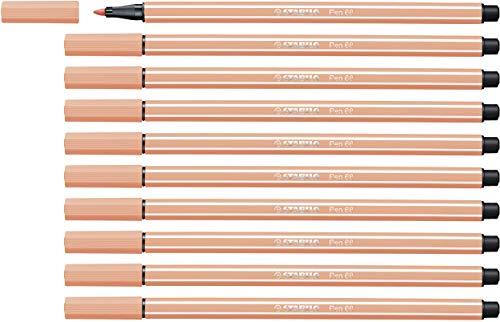 Rotulador STABILO Pen 68 - Caja con 10 unidades - Color carn