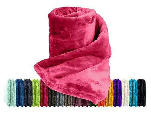 Premium-Microfaser-Flauschdecke - 17 Fantastische Farben - 3 Komfortgrößen - federleicht und kuschelweich - zu Hause und auf Reisen, 220 x 240 cm, rubinrot