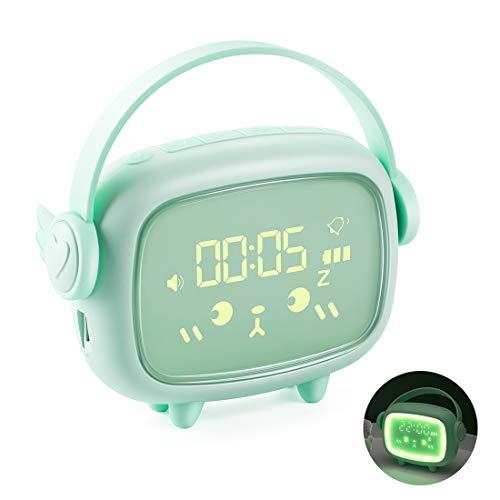 Despertador Infantil, Pantalla LED Digital, USB Recargable, con temperatura de fecha, 6 tonos de alarma opcionales, Volumen de Alarma Ajustable