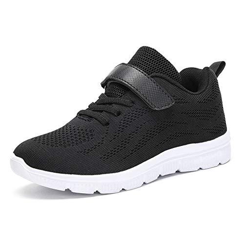 ITAPO Kinder Schuhe Sportschuhe Turnschuhe Mädchen Hallenschuhe Jungen Klettverschluss Atmungsaktiv Laufschuhe Outdoor Sneaker, Schwarz 25 EU