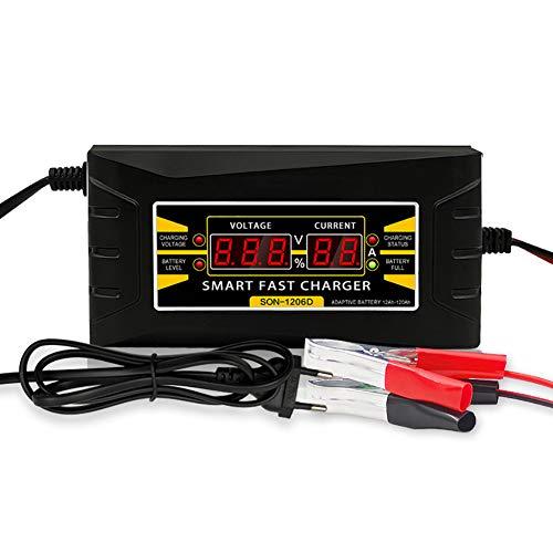 LLC Cargador de batería de Coche Cargador de batería de Coche para Las baterías de Plomo-ácido rápida e Inteligente con Pantalla, la Carga y Descarga de Corriente 6000 (MA)