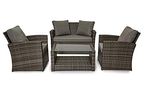 Evre - Juego de muebles de jardín de ratán para exteriores, Gris con cubierta premium.