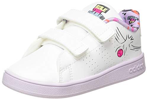 adidas Advantage I, Scarpe da Ginnastica Bambino, Ftwr White/Ftwr White/Purple Tint, 27 EU