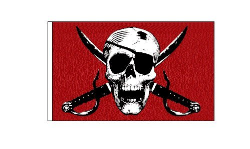 6 ft. Red Pirate Skull Safety Flag with 5/16 White Pole and Mounting Hardware