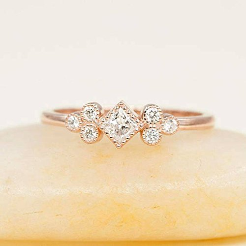 Simple arrow ring. Natural diamond ring for women Minimalist chevron engagement ring Unique diamond wedding ring 14k rose gold V ring