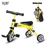 XJD 2 in 1 Triciclo per Bambini Bicicletta Equilibrio Adatto per età 2-4 Anni Certificazione CE (Giallo)