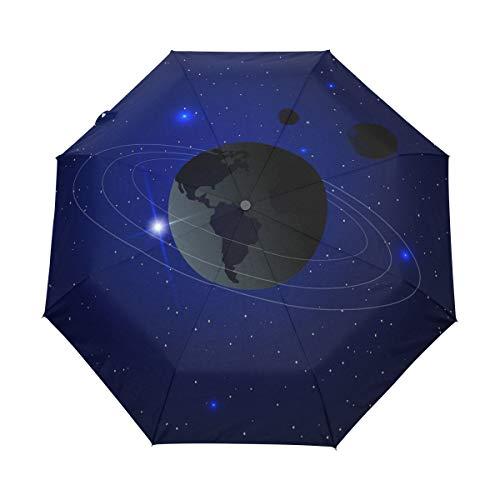 Espacio Azul Tierra Planeta Paraguas Plegable Hombre Automático Abrir y Cerrar Antiviento...