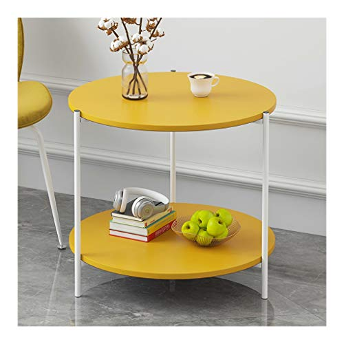 LQ Canapé côté Cabinet Chambre Petite Table Table de chevet Balcon Simple Table basse Petit Appartement Creative Desserte tables basses (Color : Yellow, Size : A)