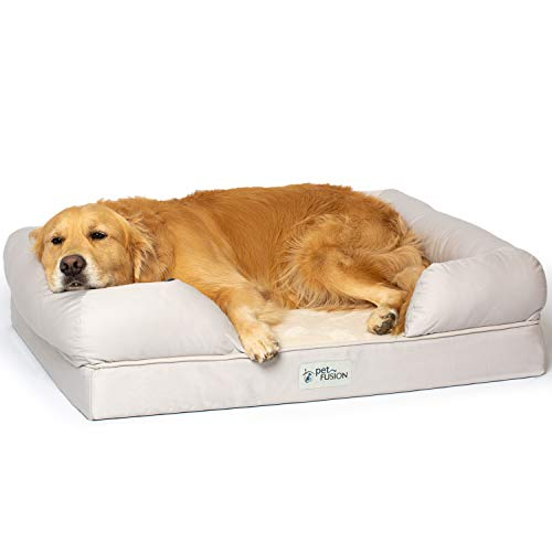 PetFusion Large Dog Bed w/Solid 4' Memory Foam, Waterproof Liner, YKK Premium Zippers. [Sandstone, 36x28x9 - Sized for Medium & Large Dogs]. Breathable Cotton Blend Cover, Removable & Easy to Clean