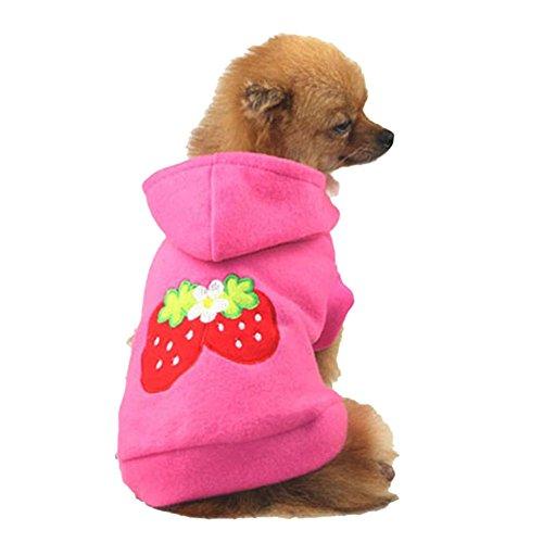 Wodery Dog Pet Rose Strawberry Hoodie Vêtements de mode vestes habit costumes, XS / S / M / L / XL / XXL