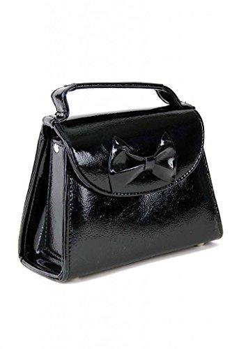 SugarShock Damen Handtasche Rockabilly Koffer Tasche, Farbe:Schwarz