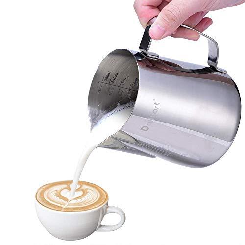 Milchkännchen, Dailyart Milchkanne aus Edelstahl 600ml/20oz Milk Pitcher Milchschaum Krug Art Aufschäumkännchen für Cappuccino und Latte Art, Silber