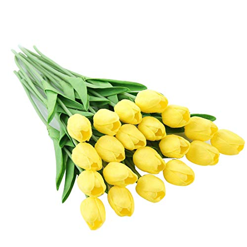 Justoyou, tulipani artificiali, in lattice a effetto realistico, per bouquet da sposa, matrimonio, casa, giardino, decorazione, 20 pezzi, Yellow-20, 20 Pezzi