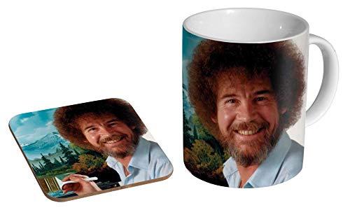 Bob Ross Keramik-Kaffeetasse + Untersetzer Geschenk-Set ...