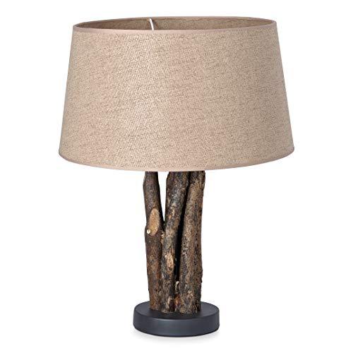 Home sweet home tafellamp Bindy houten takken met lampenkap Melrose - taupe