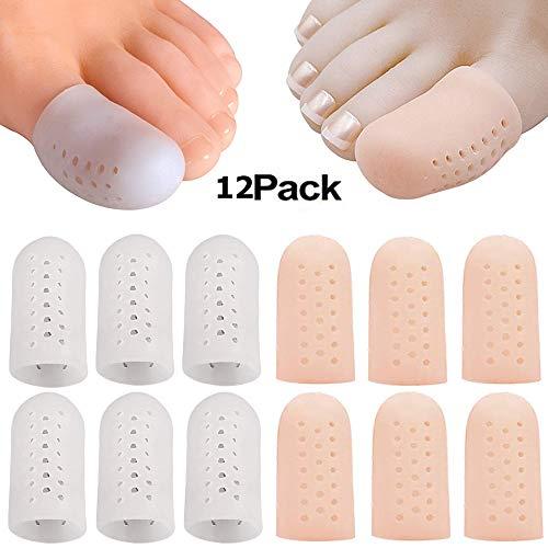 12 Stück Zehenkappen,Gel Zehenschutz Silikon komfortablen und weichen Verhindert Blasenbildung & Schwielen Für Männer und Frauen, für Großen Zeh(6 weiß, 6 pink)