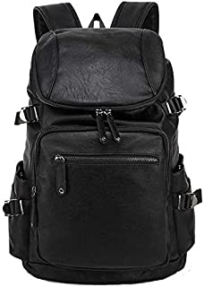 PU leather outdoor bags casual men's Backpack black