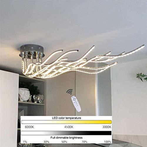 120W LED Plafoniera Dimmerabile con Telecomando Lampada da soffitto Metallo Cromo Moderno Forma d'onda Design Fai da te 10-fiamme Regolabile Luci di soffitto per Camera da letto Soggiorno Cucina
