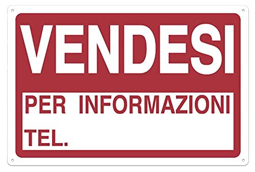 Nitek Cartello VENDESI in PVC 30cm x 20cm– Cartello Autoadesivo| Sign, Schild | Impermeabili Lavabili, Locale Commerciale, Pub, Case