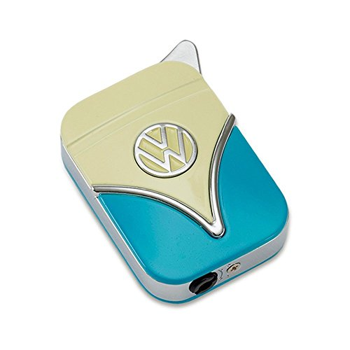 Original Volkswagen Feuerzeug im Frontschild Design - in verschiedenen Farben - Geschenkset (VW-Bulli-hellblau-gelb)