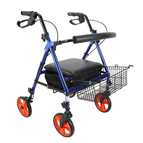 Confíe en Walking Walker para Personas Mayores Rollator Rueda Rollator para Ancianos discapacitados Polea Carro Plegable Walking Walker Carro de Compras, AA